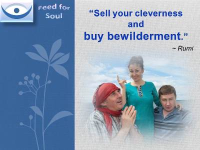 Rumi quotes at Feed for Soul: Sell your cleverness and buy bewilderment.